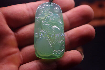 Exquisite China's natural light green agate hand-carved Buddha Ice jade pendant
