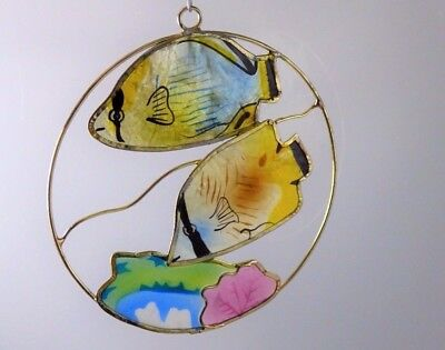 Vintage Angelfish Foil Suncatcher Wire Gold Metal Christmas Holiday Ornament