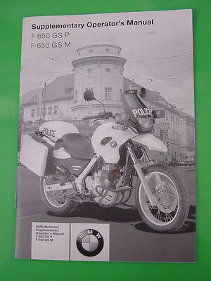 Genuine Bmw F650 Gs P / Gs M Supplementary Operators Manual