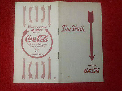 "COCA COLA ""THE TRUTH"" BOOKLET-1909-16 page-Does it contain Cocaine,Whiskey?"