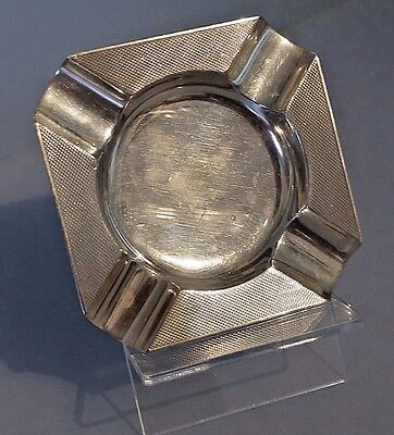 1960's square silver ash tray with engine turned detail fully hallmarked .