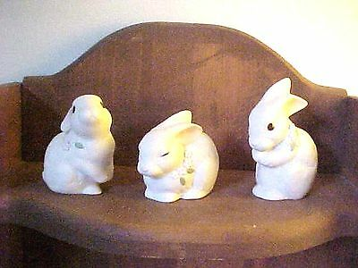 Lot of 3 Vintage Miniature Porcelain Rabbits with Flowers  Figurines