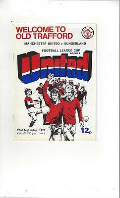 Manchester United v Sunderland League Cup 1976/77 Football Programme