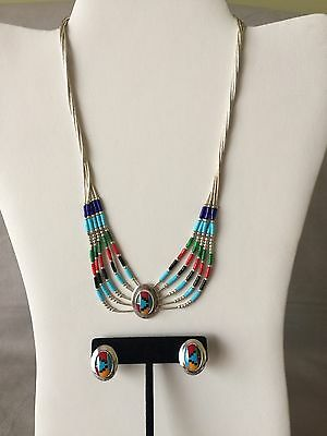 Multi-Color Southwestern-Style Inlay Necklace And Earrings Set Sterling
