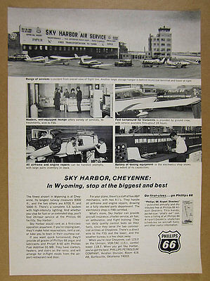 1966 Sky Harbor Air Service cheyenne wy airport photos Phillips 66 vintage Ad