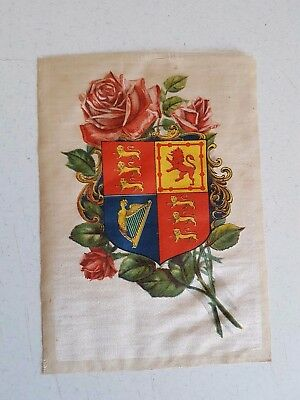 Vintage Iron On Decal on Old Material Emblem and Rose Very Old