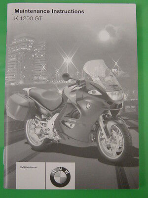 Genuine Bmw K1200 Gt Maintenance Instructions