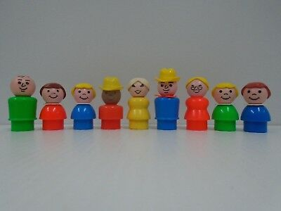 9 Vintage Fisher Price Little People Family htf Red Mom w Glasses Yellow Mom Lot