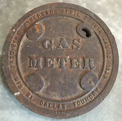 1923 Cast Iron Large Manhole Cover Sewer Lid Gas Meter - Dallas Foundry Texas