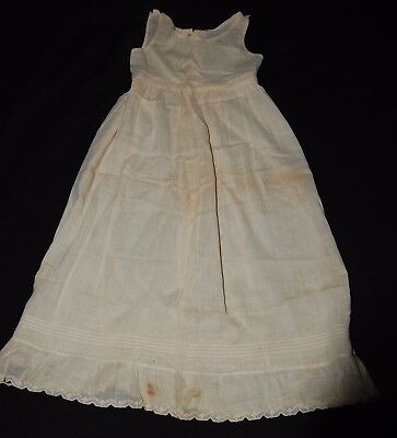 Antique Victorian 1800s Christening Gown Organdy Cream Sleeveless Baby Dress