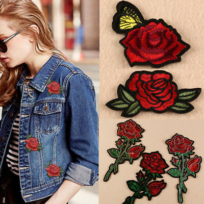 Embroidery Red Rose Flower Sew Iron On Patch Badge Clothes Fabric Applique