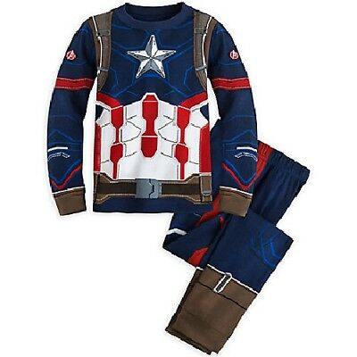Captain America Costume Pajamas  NWT Disney Store PJ Pals Boys sizes 4,5,6,7,8