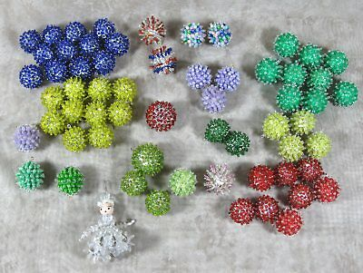 "Vintage Lot Of 61 Sequin Beaded 1"" Christmas Tree Ornaments w/Safety Pin Angel"