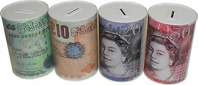 £5 £10 £20 £50 Pound Note Design Kids Money Box Tin Saving Cash