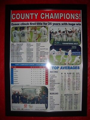 Essex CCC 2017 County Champions - framed print