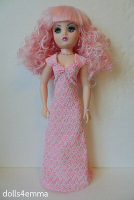 """CISSY DOLL CLOTHES Empress Pink Gown & Jewelry 21"""" handmade Fashion NO DOLL d4e"""