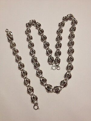 "Beautiful Vintage Silver Tone 7"" Bracelet And 24"" Necklace Set (G678)"