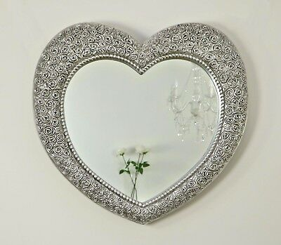 "Rose Heart Antique Silver Shabby Chic Shaped Wall Mirror 33"" x 28"" Large"