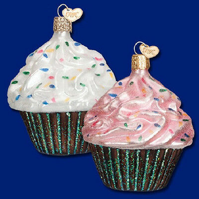 CHOCOLATE CUPCAKES with Pink & White Icing Ornament Old World Christmas NEW