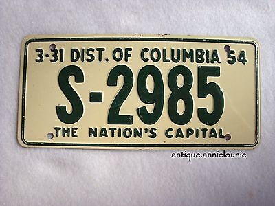1954 DIST of COLUMBIA Wheaties Cereal License Plate # S-2985