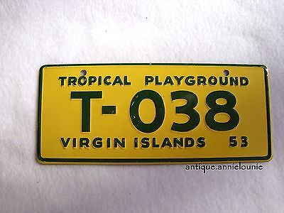 1953 VIRGIN ISLANDS Wheaties Cereal License Plate # T-038