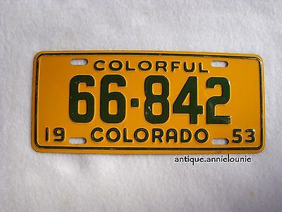 1953 COLORADO Wheaties Cereal License Plate # 66-842