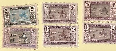 Mauritania Stamps. 1913 MR 17-19. Desert Landscape. MH. 6 stamps
