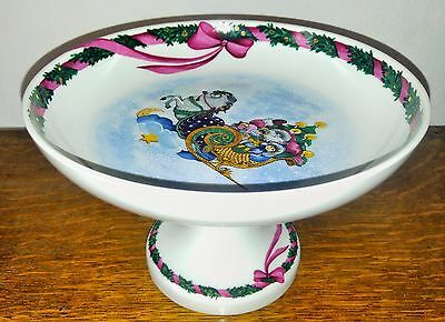 """Jingle Bells"" Royal Copenhagen Serving Raised 8"" Cake Plate MINT!"