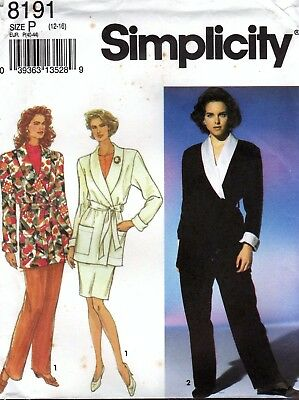 Simplicity 8191 Belted Jacket, Pants & Skirt Sewing Pattern Uncut Size 12 to 16