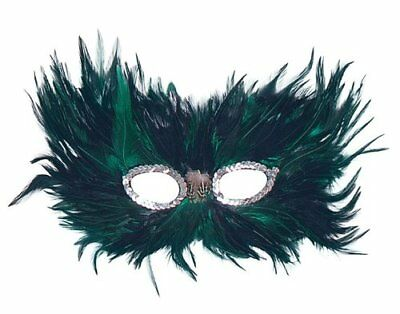 Green/Black Feather Eye Mask