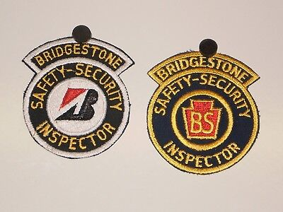 2 Bridgestone Tire Safety Security Inspector Patches NOS
