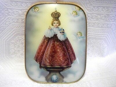 Enfant Jesus of Prague Framed Wall Plaque with Bubble Glass Made in Italy 50's
