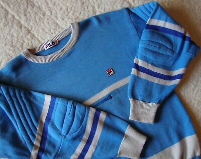 SWEATER vintage '80s FILA era Borg TG.56 veste L/XL circa  made in Italy RARE