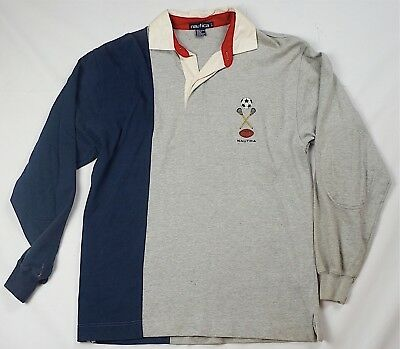Rare Vintage NAUTICA Sports Soccer Lacrosse Football Rugby Polo T Shirt 90s SZ L