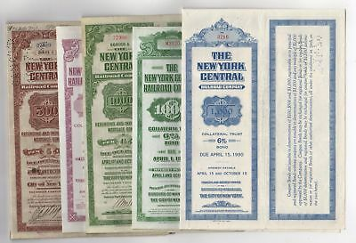 Lot of 5 different New York Central Railroad Bonds