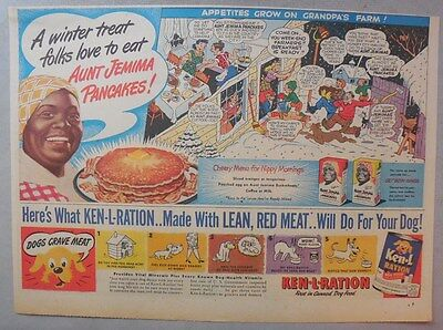 Aunt Jemima Pancakes Ad: A Winter Treat Folks Love To Eat! 1930-1940's