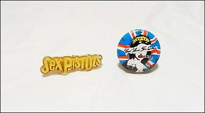 Sex Pistols 80's Enamel Pin & 70's God Save The Queen Mini Button