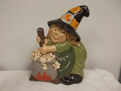 "Painted Ceramic Halloween Witch Stirring Cauldron Decoration Cute 10"" Tall"