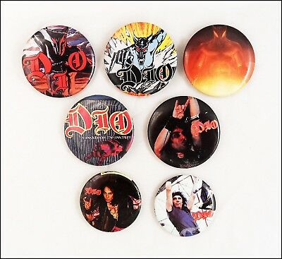 DIO Lot of 7 80's Buttons Pins Holy Diver The Last In Line