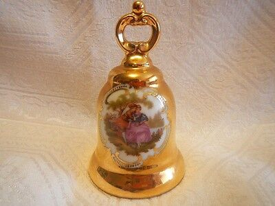 Gold Plated Porcelain Bell with Courting Scene Western Germany