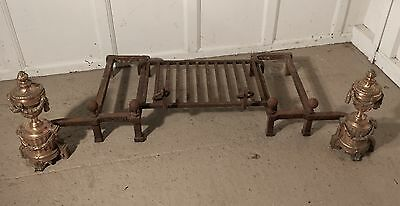 A Pair of Large French Brass Andirons or Chenets Complete with Log Grate