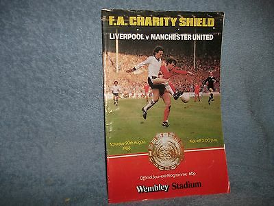 1983 Charity Shield Liverpool V Manchester United Football Programme