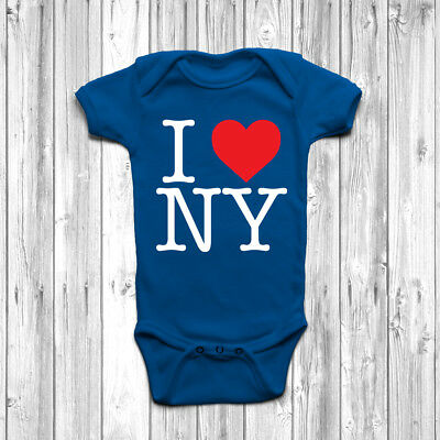 I Love Heart New York Baby Grow Body Suit Vest Gift Cute Funny Retro Cool