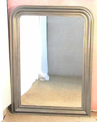 Large French 19th Century Silver Painted Wall Mirror Over Mantle Free Delivery