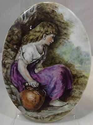 Vintage Small Painted Porcelain Plaque Featuring A Girl, Possibly European