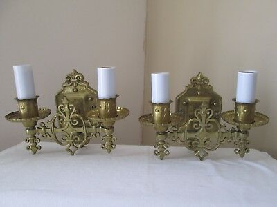 old brass wall sconce lights fleur-de-lis