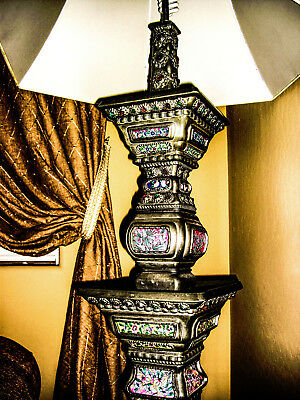 ANTIQUE RARE JEWELED TALL PEWTER  Qing DynastyTABLE OR FLOOR LAMP