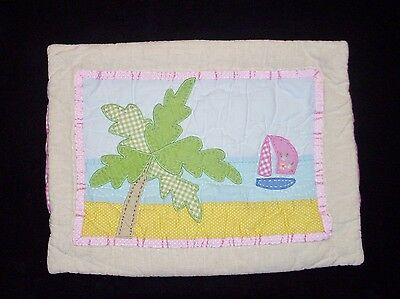 Pottery Barn Kids Palm Tree Boat Beach Toddler Pillow Sham 12 x 16 Pink Gingham