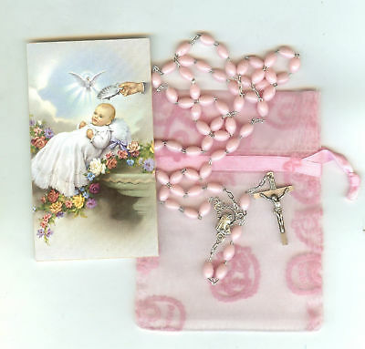 Rosary Beads For  Acrylic Baby Girl 450Mm Italy  ****bag In Picture Not Included