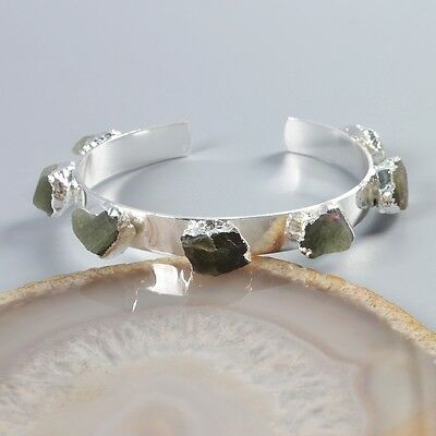 Freeform Rough Natural Green Apatite Bangle Silver Plated T039644